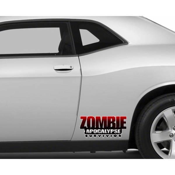 2x Pair Side Printed Zombie Apocalypse Survivior Vinyl Decal Walking Car>