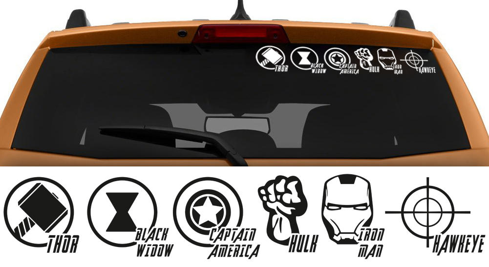 The Avengers 6in1 Iron Man Thor Captain America Hulk Car Sticker Decal