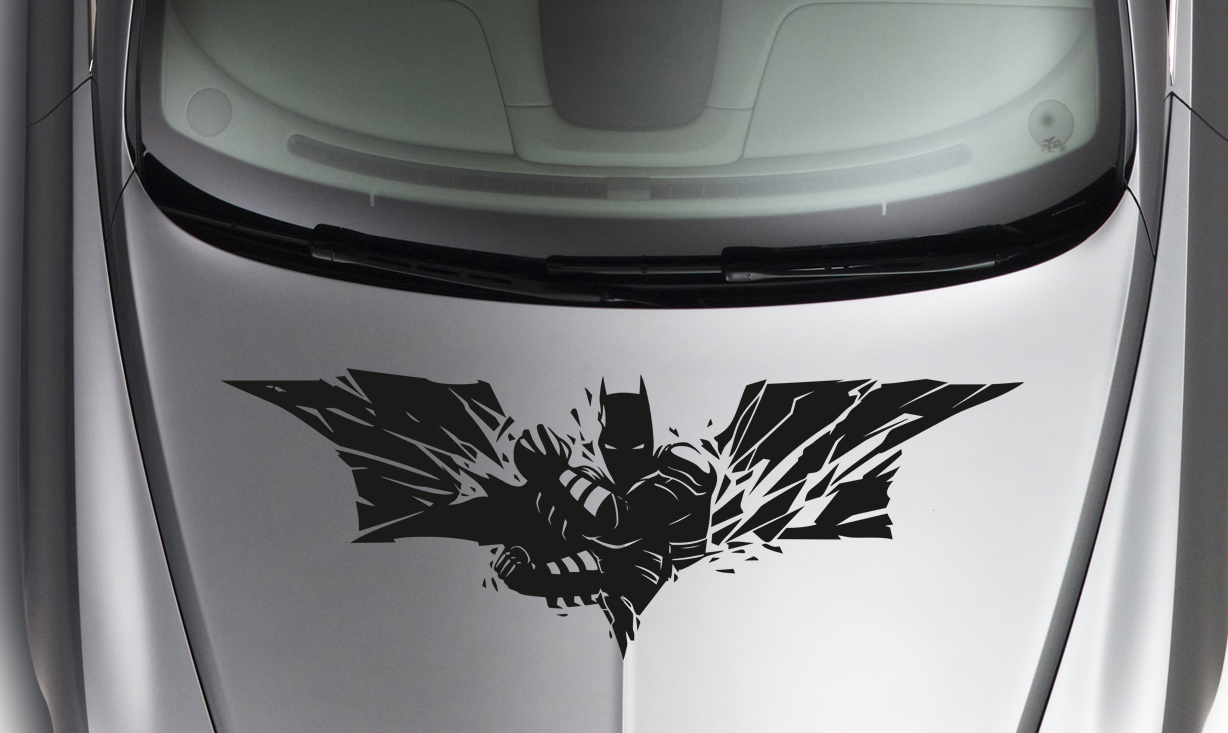 Large dark batman strike logo superhero comic car hood body vinyl sticker decal