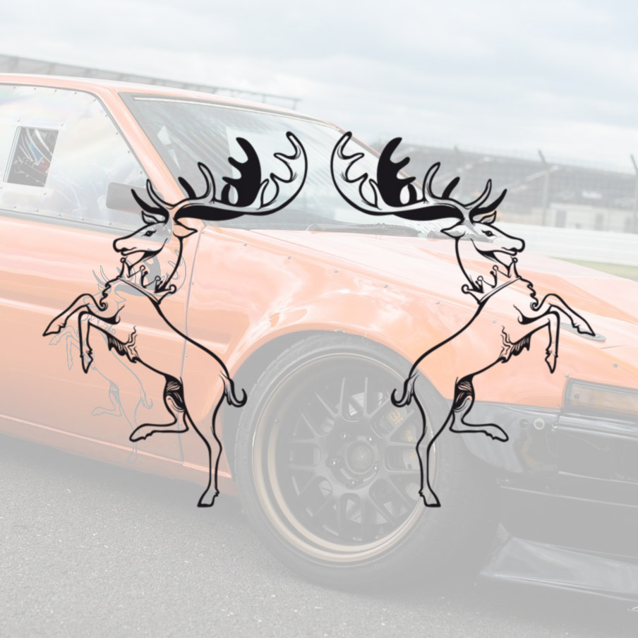 2x Pair Side House Baratheon Deer Crown Horns Sign Logo Ours Is the Fury Storm's End Robert Westeros Seven Kingdoms Game of Thrones TV Show Car Vinyl Sticker Decal
