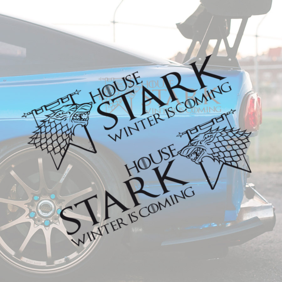 2x Pair House Stark Wolf Direwolf Sign Logo Winterfell North Arya Sansa Jon Snow Winter is Coming Westeros Seven Kingdoms Game of Thrones TV Show Car Vinyl Sticker Decal