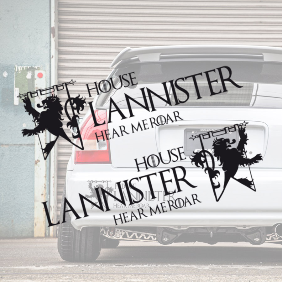 2x Pair House Lannister V1 Lion Sign Logo Hear Me Roar Cersei Joffrey Tyrion Jaime Westeros Seven Kingdoms Game of Thrones TV Show Car Vinyl Sticker Decal