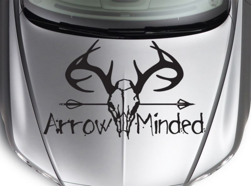 Bow Arrow Minded Skull Horns Hunter Hunting Deer Truck Hood Vinyl Sticker Decal