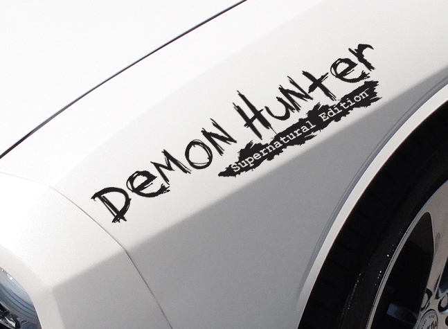 2x Pair Demon Hunter Supernatural Sam Dean Castiel Winchester TV Car Vinyl Sticker Decal