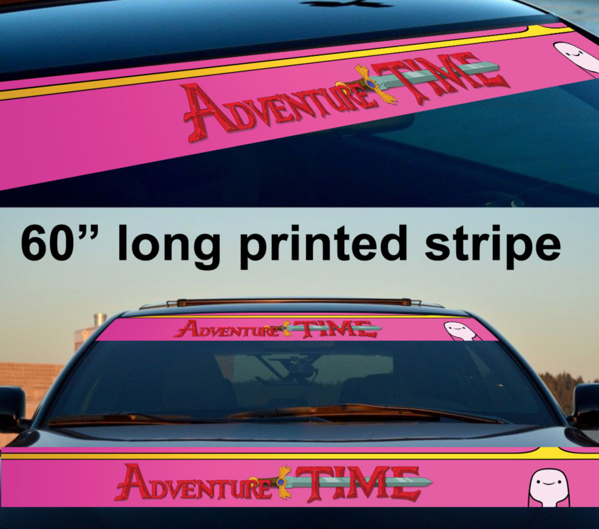 "60"" Bubblegum Princess Adventure Time Sun Strip Printed Windshield Vinyl Sticker Decal"