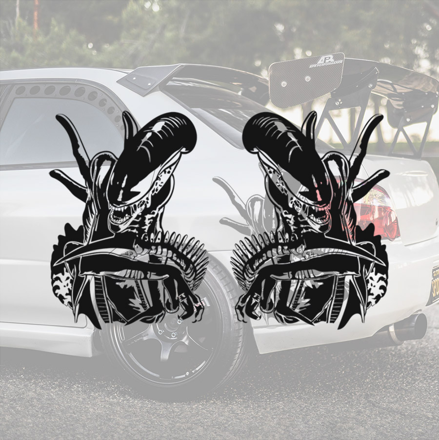 2x Pair Side Alien v2 Xenomorph Nostromo Ripley Movie Predator Car Vinyl Sticker Decal