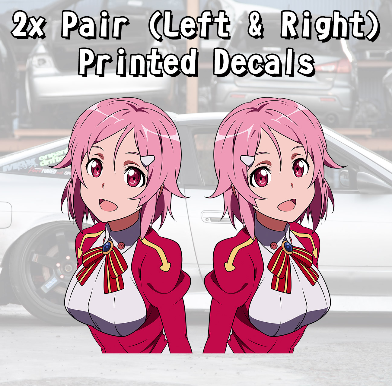 2x Pair Side Lisbeth Shinozaki Rika SAO Sword Art Online ALfheim Online ALO Game Anime Manga  Girls Boobs Sexy Printed Car Vinyl Sticker Decal