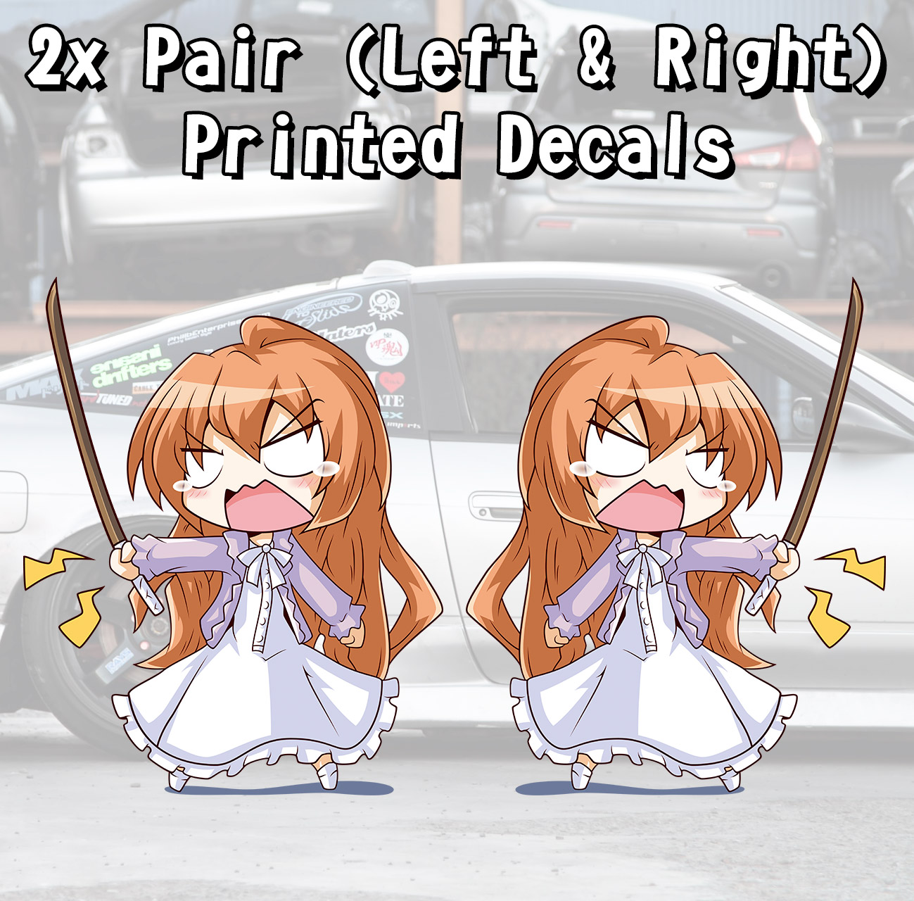 2x Pair Side Taiga Aisaka Palmtop Tiger Toradora Anime Manga Hentai Girls Boobs Sexy Printed Car Vinyl Sticker Decal