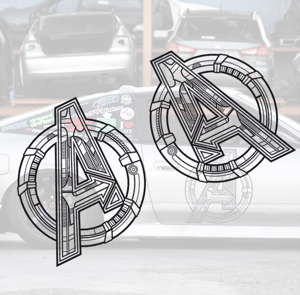2x Pair Side Avengers Logo Sign v2 Thanos Iron Man Thor Spider-Man Hulk Captain Marvel America Widow Hood Superhero Comic Car Vinyl Sticker Decal