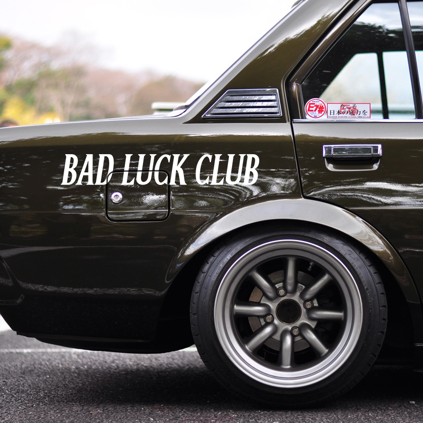 Bad Luck Club Drift Never Content Racing  v1 Banner JDM Low Stance Tuning  Windshield Car Vinyl Sticker Decal