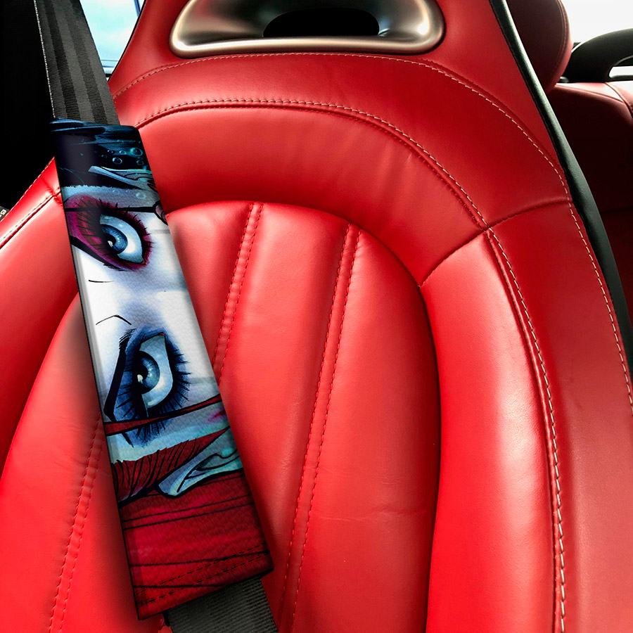 Daddys Lil Monster Puddin Eyes Sexy Hahaha Serious Suicide Comic Eco Leather Printed Car Seat Belt Cover