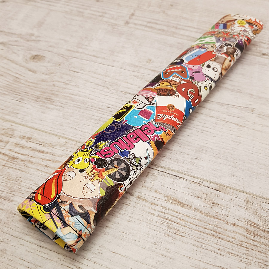 Sticker Bomb Stickerbomb JDM Japan Rising Sun Stance Low Slammed Show Event Eco Leather Printed Car Seat Belt Cover