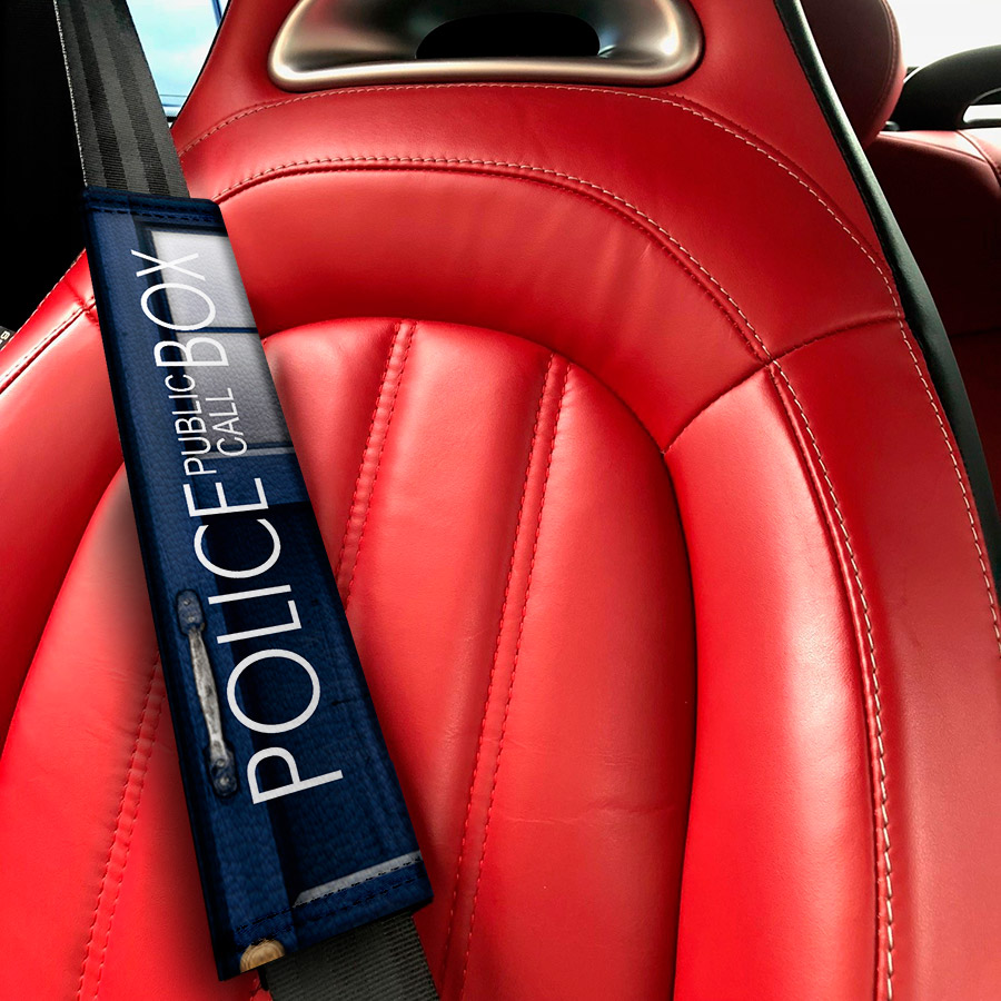 Doctor TARDIS Police Box Master Dalek Eco Leather Printed Car Seat Belt Cover