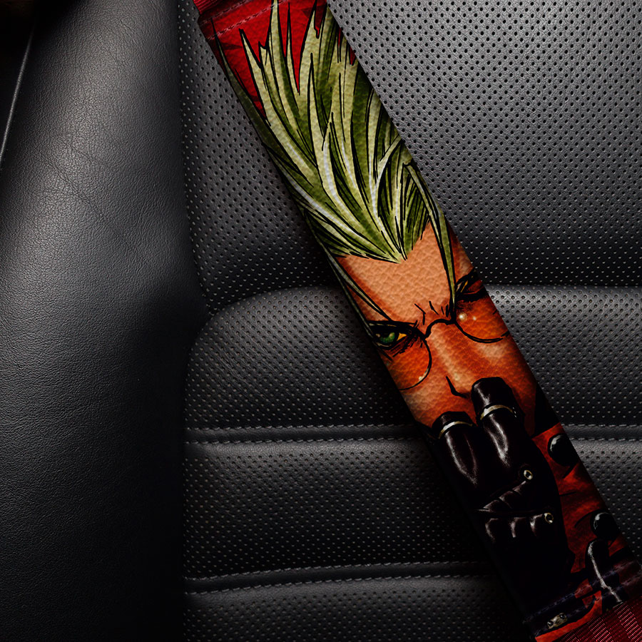 Trigun v2 Vash Stampede Gunsmoke Nicholas Wolfwood Meryl Stryfe Milly Thompson Eco Leather Printed Car Seat Belt Cover