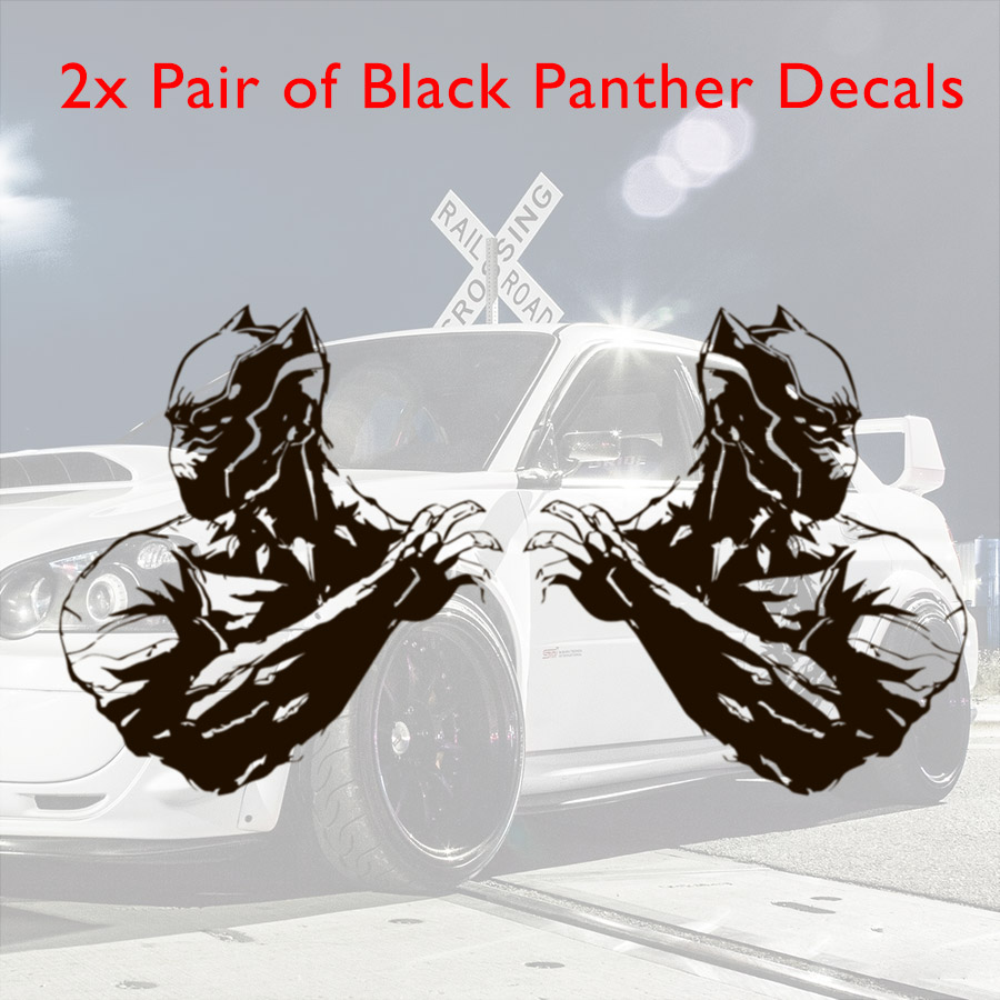 2x Pair Side Black Panther T'Challa Avengers Wakanda Marvel Comics Superhero Justice Car Vinyl Sticker Decal