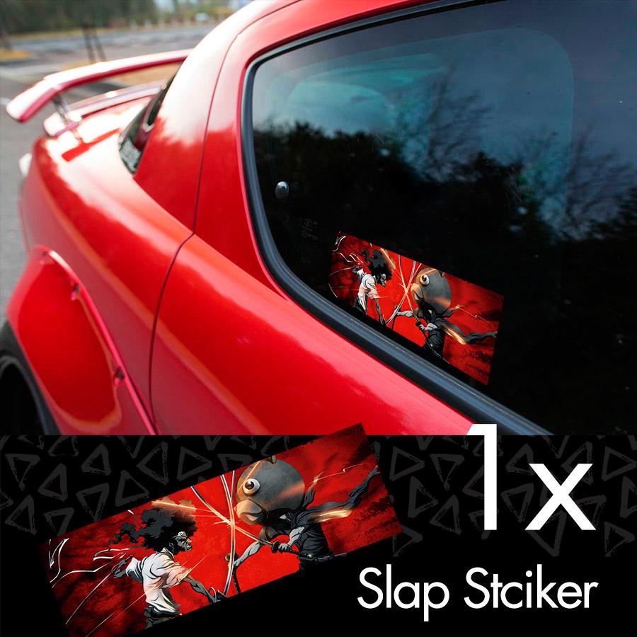 Afro samurai v2 rokutaro number 1 2 justice anime manga jdm printed box slap bumper car vinyl sticker