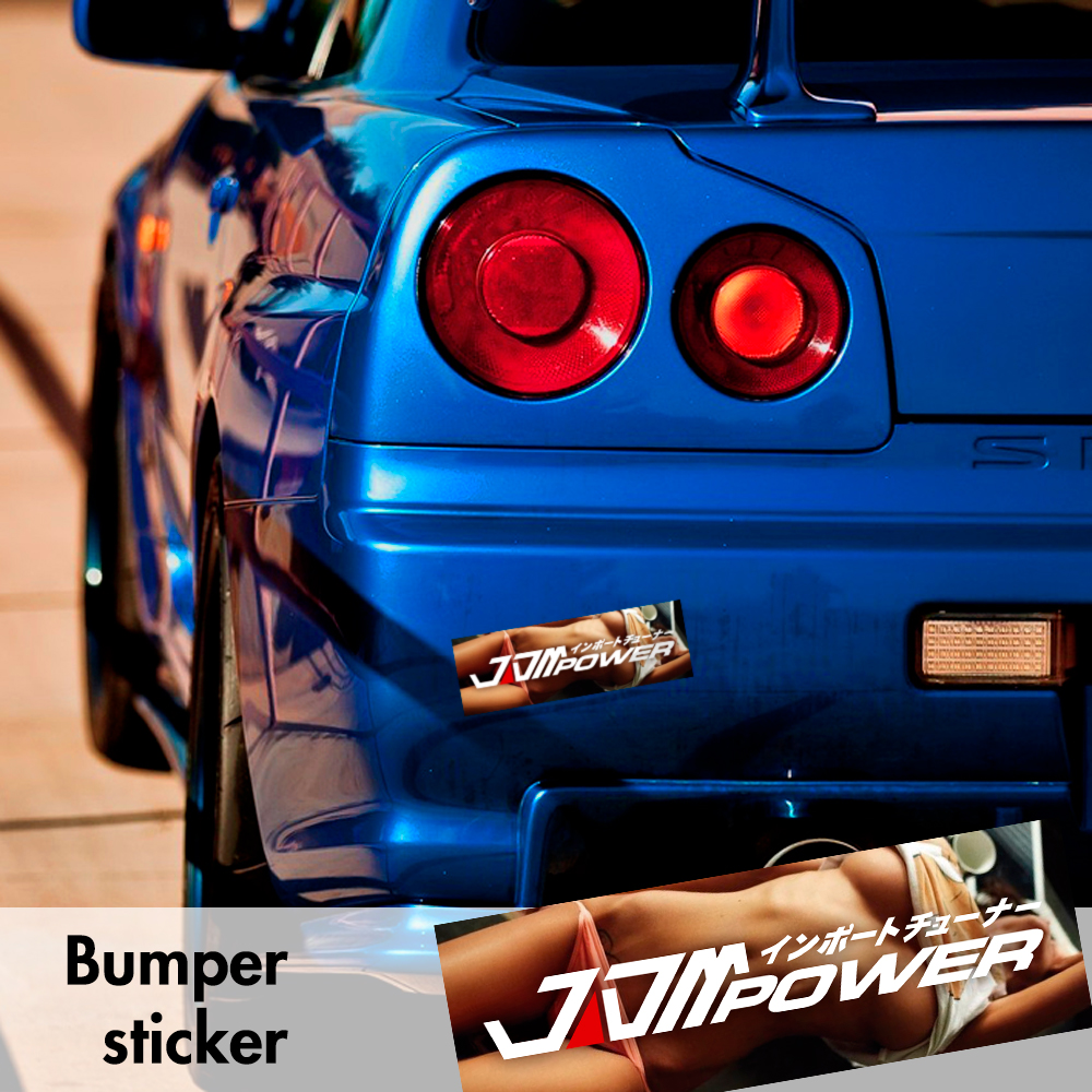JDM Power Racecar Racing Hot Sexy Bumper Printed Sticker Box Slap Stance Event Show Car Vinyl Decal