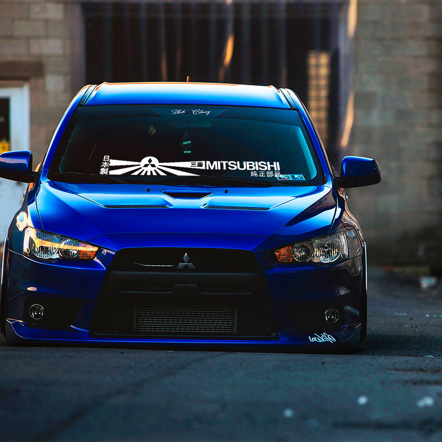 Windshield Banner 三菱 EVO Evolution VII VIII IX X Lancer Eclipse Japan Stance Tuning Build Rising Sun Katakana Racing Car Vinyl Sticker Decal