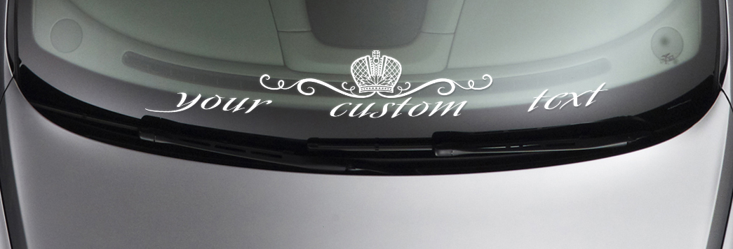 CUSTOM TEXT Royal Strip JDM Daily Low Stance Car Windshield Vinyl Sticker Decal