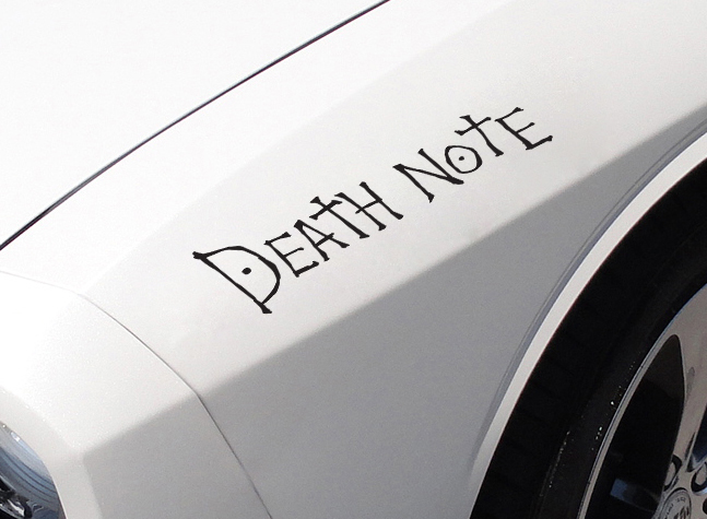 2x Death Note Logo v1 L Light Yagami Shinigami Ryuk Anime Manga Body Windshield Sticker Decal