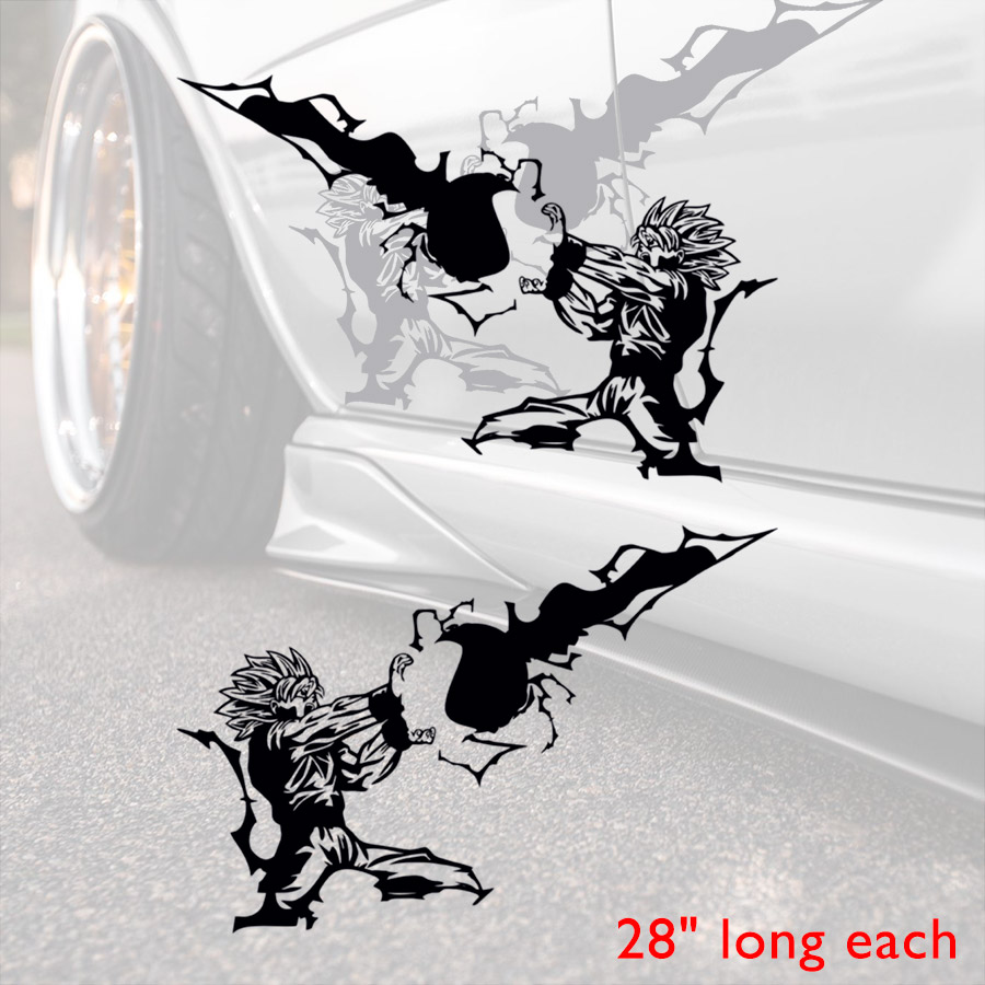 2x Pair Side Dragon Goku Blue Power Strike Z GT Super Saiyan Hood God Anime Manga Car Vinyl Sticker Decal #Dragon Ball