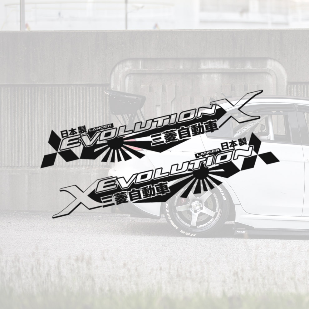 2x Pair Side v2 X 10 Lancer Evo 三菱 自動車 JDM Japan Made Evolution RS GSR MR MIVEC DOHC Car Vinyl Sticker Decal