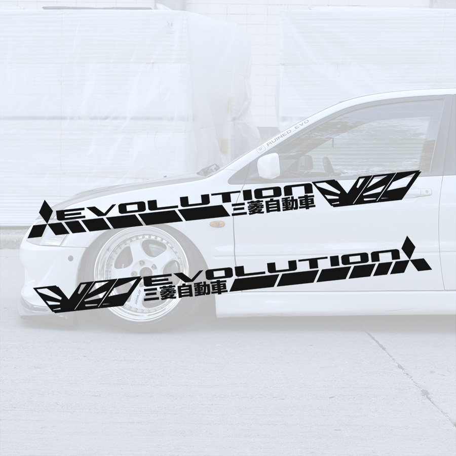 2x Pair Side Mitsubishi v6 VII 7 Logo Lancer Evo 三菱 自動車 JDM Japan Made Rising Sun Evolution GT-A RS GSR MR MIVEC DOHC Car Vinyl Sticker Decal