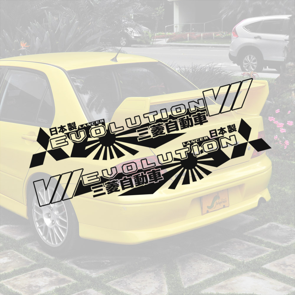 2x Pair Side v7 VII 7 Lancer Evo 三菱 自動車 JDM Japan Made Rising Sun Evolution GT-A RS GSR MR MIVEC DOHC Car Vinyl Sticker Decal