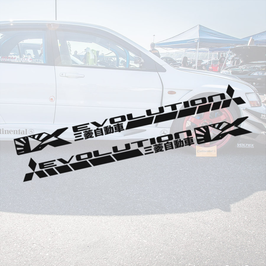 2x Pair Side v3 IX 9 Lancer Evo 三菱 自動車 JDM Japan Made Rising Sun Evolution RS GSR GT SE MR MIVEC DOHC Car Vinyl Sticker Decal