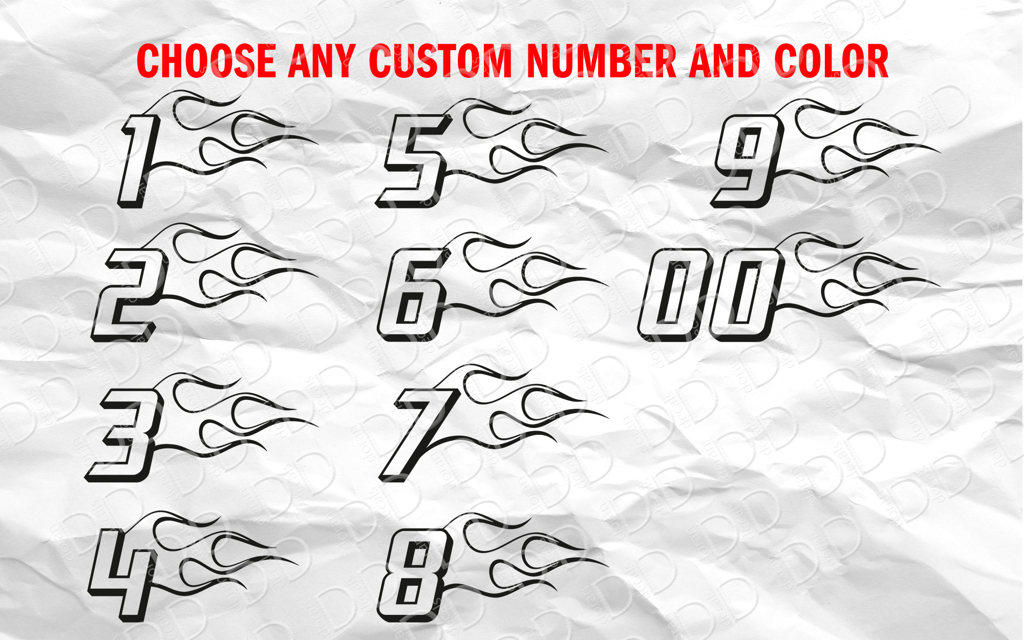 2x Pair Fire Flame Any Custom Number Racing Race Sport 4WD 4x4 Car Truck Vinyl Sticker Decal