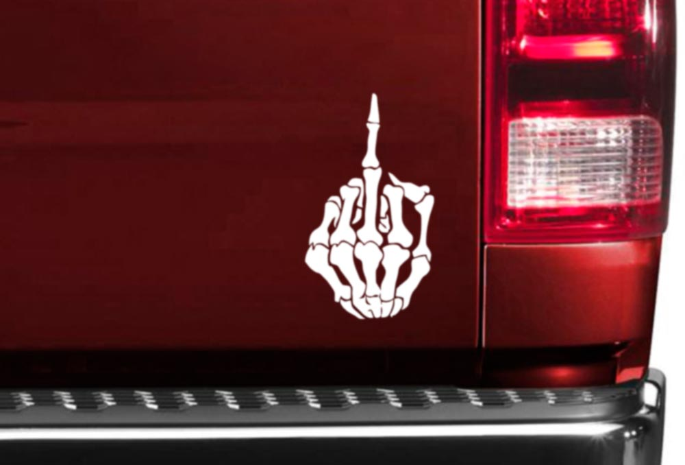 Funny Skull Skeleton Middle Finger Bones JDM Haters Cool Car Vinyl Sticker Decal