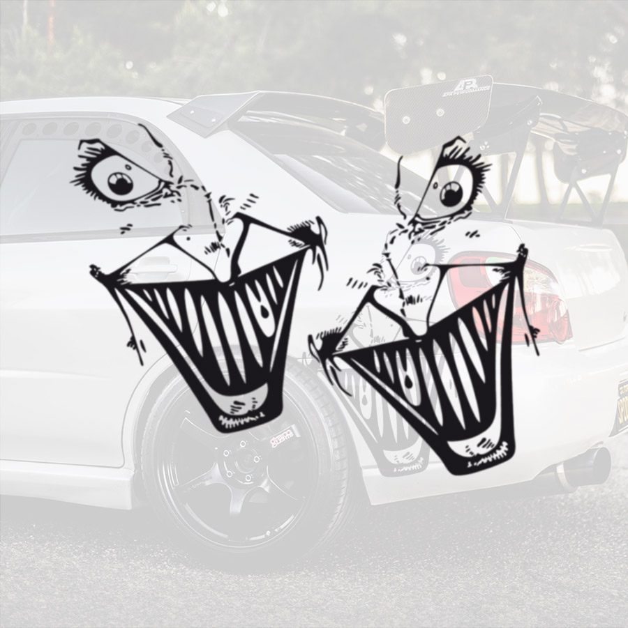 2x Pair Side Hahaha Why So Serious Smile Wayne Bruce Gotham City Jim Gordon Superhero Comic Car Vinyl Sticker Decal