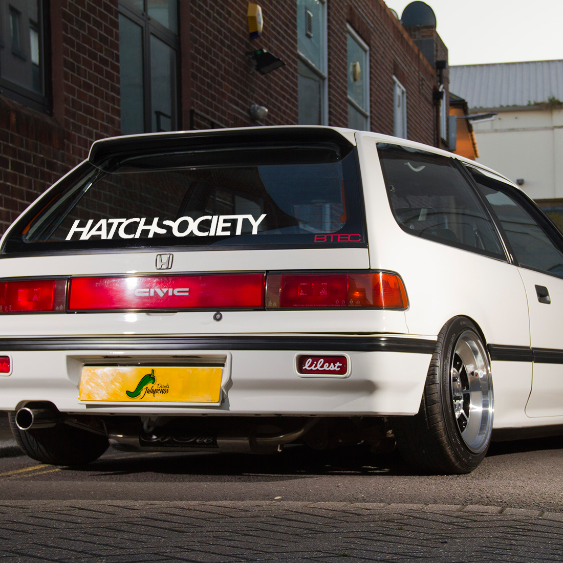 Hatch Society v3 Hatchback Honda Civic Banner Drift Racing Low Stance Slammed JDM Windshield Car Vinyl Sticker Decal
