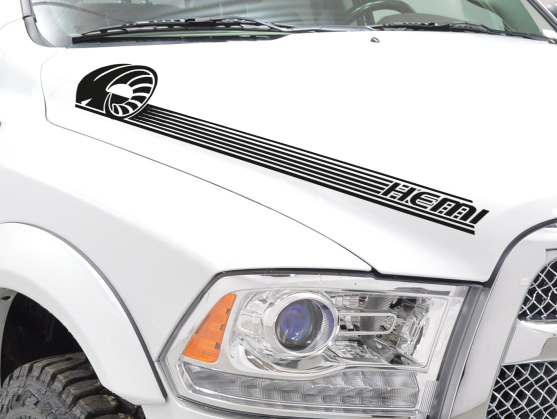 2x Side Stripes Off-Road 4x4 Truck Fender Hood Vinyl Sticker Decal fits to Dodge Ram 1500 2500 3500