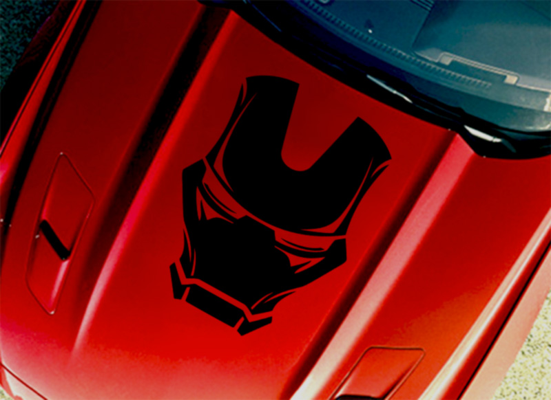 Tony Stark Mask Helmet Hood Industries Superhero Comics Car Vinyl Sticker Decal