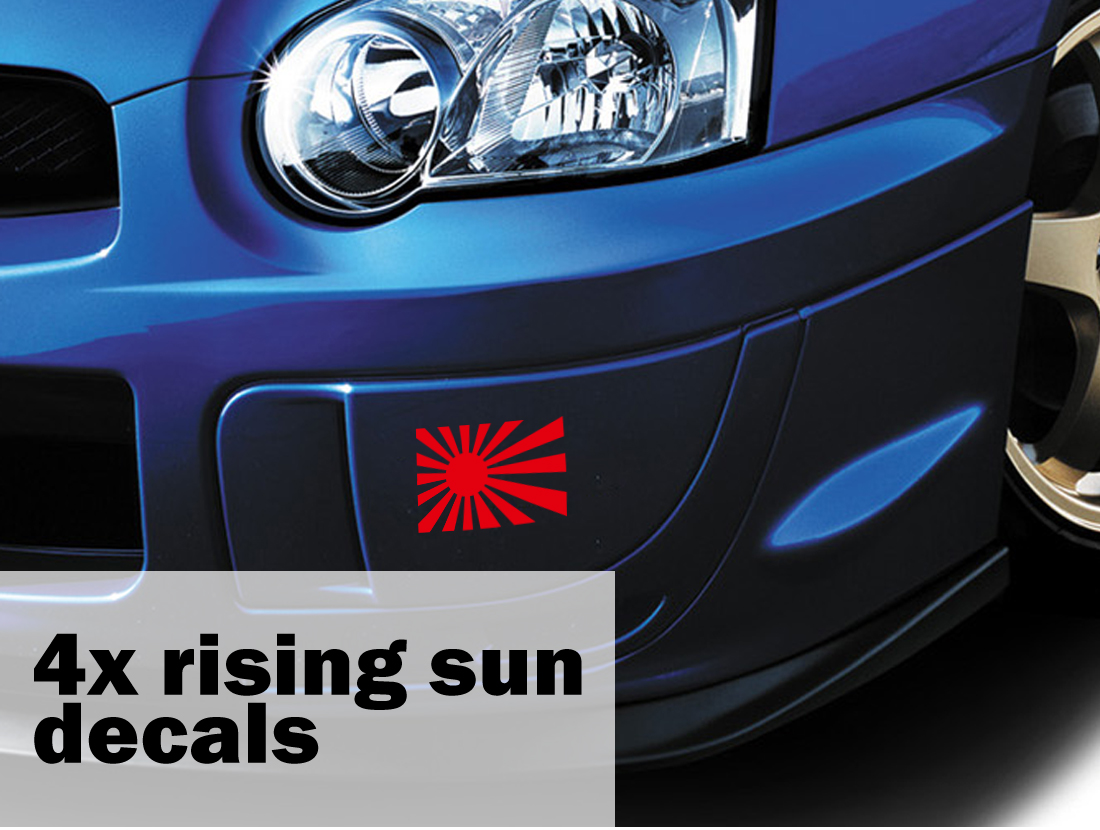 4x Rising Sun Japan Flag JDM Turbo Race Stance Low Drift Car Vinyl Sticker Decal