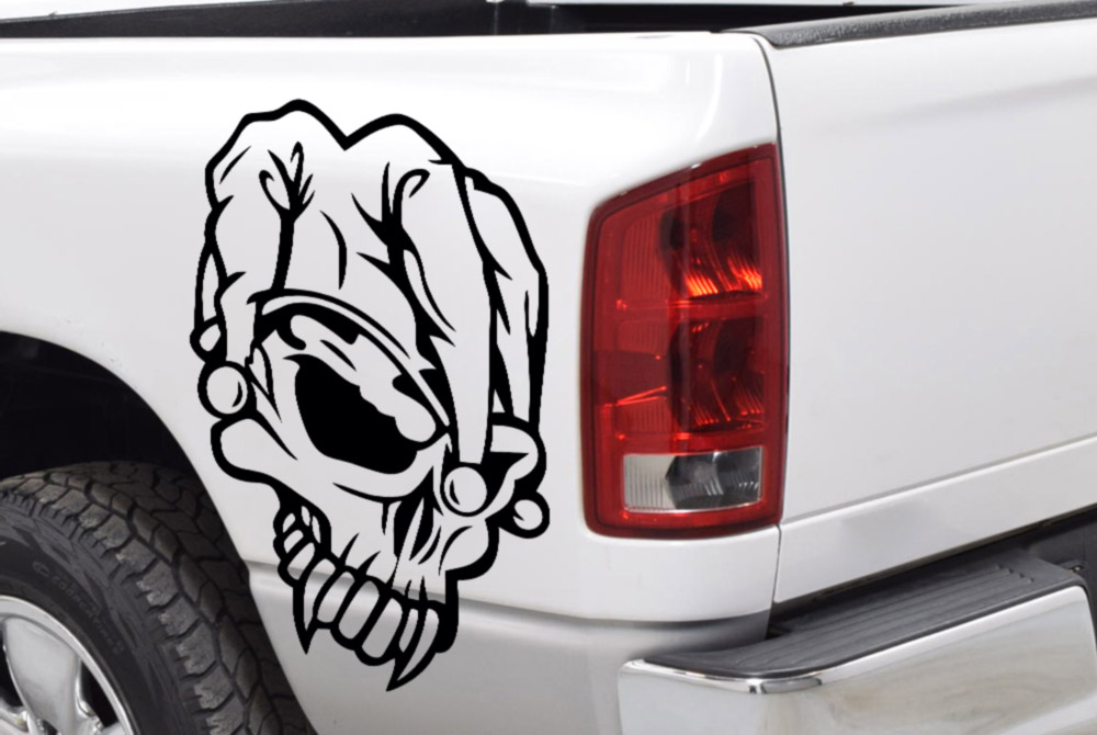 2x Pair Skull Joker Why Serious DC Suicide Squad  4x4 Graphic Side Car Truck Vinyl Sticker Decal