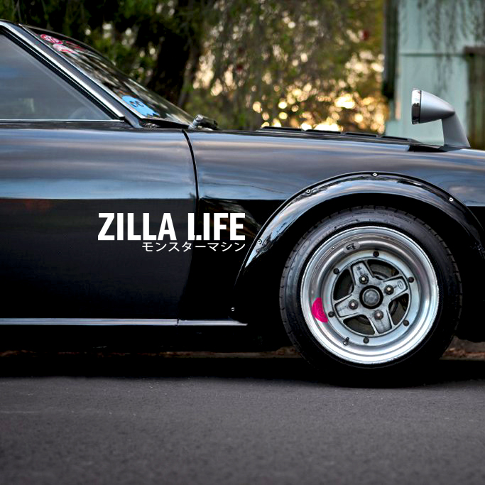 Zilla Life v2 Death Tune Stance Tuning Kanji Katakana Racing Rising Sun Japan JDM Car Vinyl Sticker Decal