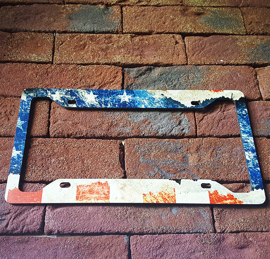 USA Flag Star American Distressed Patriotic Printed Aluminum Composite Car License Plate Frame