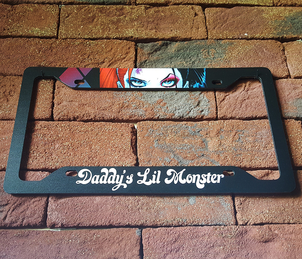 Daddys Lil Monster Harley Quinn DC Suicide Squad Printed Aluminum Composite Car License Plate Frame