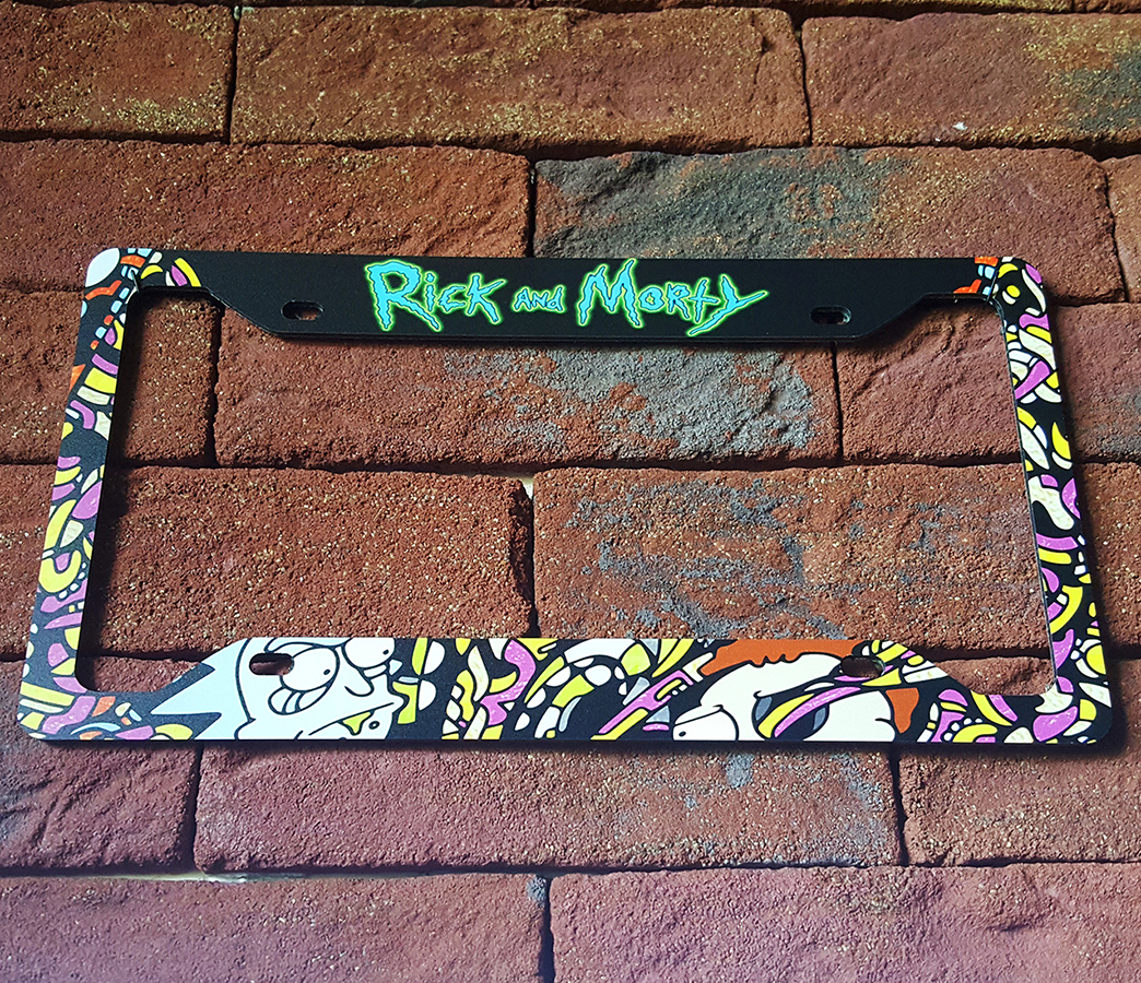 Cartoon Rick And Morty Printed Aluminum Composite Car License Plate Frame
