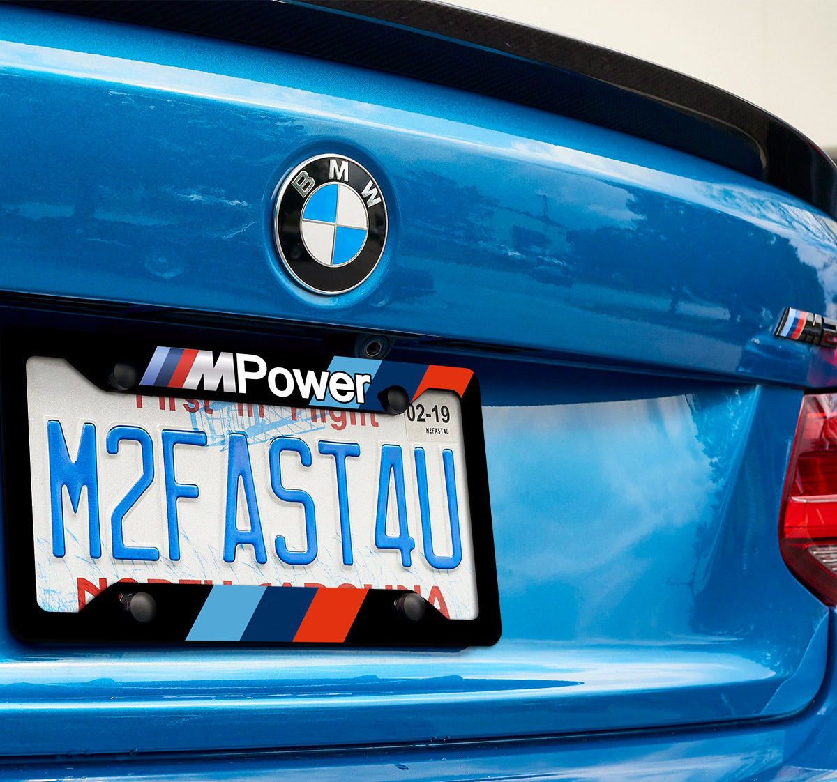 BMW M Power Stripes Racing M3 M5 Z4 M2 M4 X5M Logo Printed Aluminum Composite Car License Plate Frame