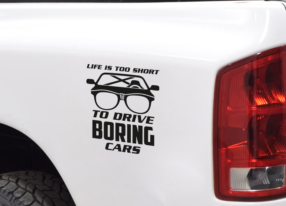 Funny JDM Life too Short Drive Boring Car Stance Low Slammed Vinyl Sticker Decal