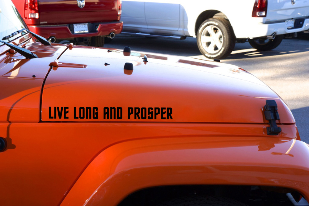 Pair Fender Trek Live Long and Prosper Spock Vulcan Decal Car Vinyl Sticker
