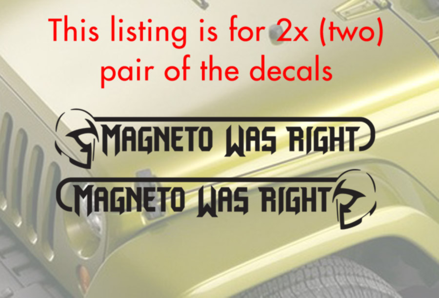 2x Pair Side Magneto Was Right Hood Bad X Men Mutant Comics Evil Car Vinyl Sticker Decal
