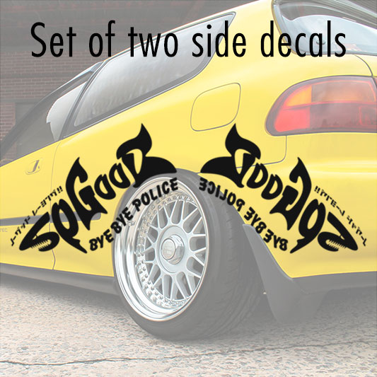 2x Pair Shark Style No Good Racing NGR Bye Police Osaka JDM Kanjo Performance Kanjozoku Civic EK EG Racing Vinyl Sticker