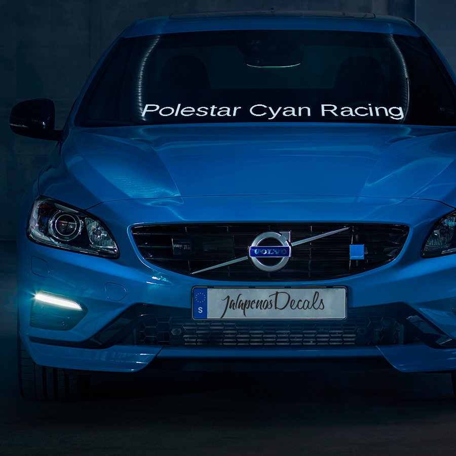 Polestar CYAN Racing v1 Windshield Stripe Banner Performance S60 V60 XC60 Sport Vinyl Sticker Decal