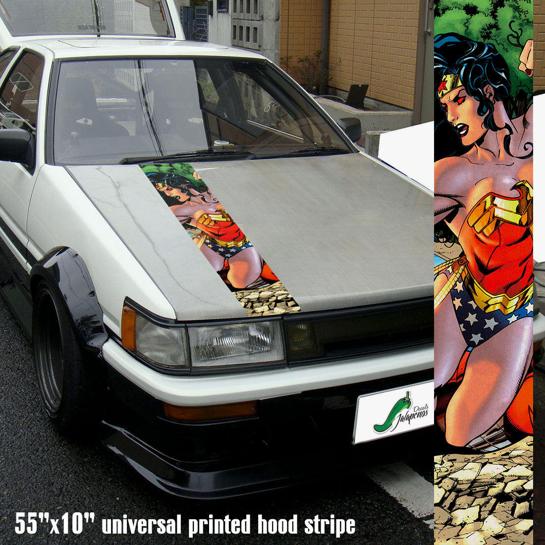 "55"" Hood Printed Stripe Diana Prince Comic Woman Warrior v1 Sexy Lady Driven Girl Car Vinyl Sticker Decal"