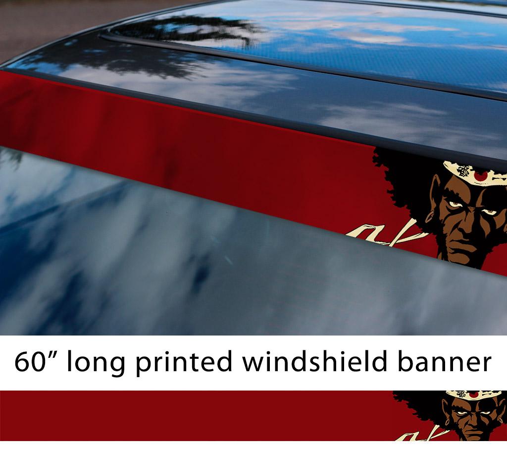 60 afro samurai v2 rokutaro number 1 2 justice anime manga sun strip printed windshield