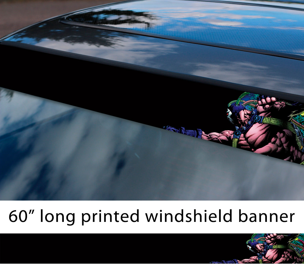 "60"" Bane v1 Bruce Wayne Villain Dark Knight Comic Gotham Superhero Sun Strip Printed Windshield Car Vinyl Sticker Decal"
